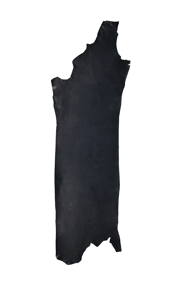 Drum Dyed Back Black Leather Hide